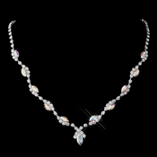 Silver AB Marquise & Clear Round Necklace 9341