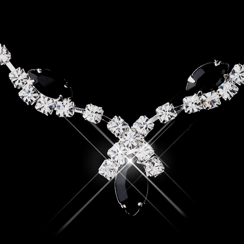 Silver Black Marquise & Clear Round Necklace 9341