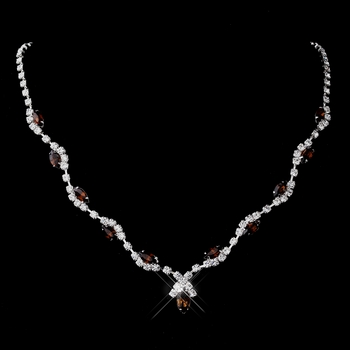 Silver Brown Marquise & Clear Round Necklace 9341