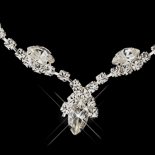 Silver Clear Marquise & Clear Round Necklace 9341