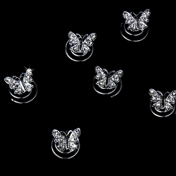 24 Fanciful Silver Clear Rhinestone Butterfly Twist-Ins 0233