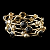 Gold Black Rhinestone Fashion Cuff Bracelet 8807