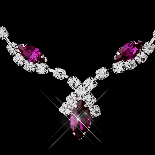 Silver Fuchsia Marquise & Clear Round Necklace 9341