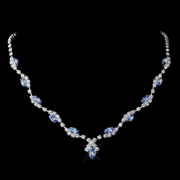 Silver Light Blue Marquise & Clear Round Necklace 9341
