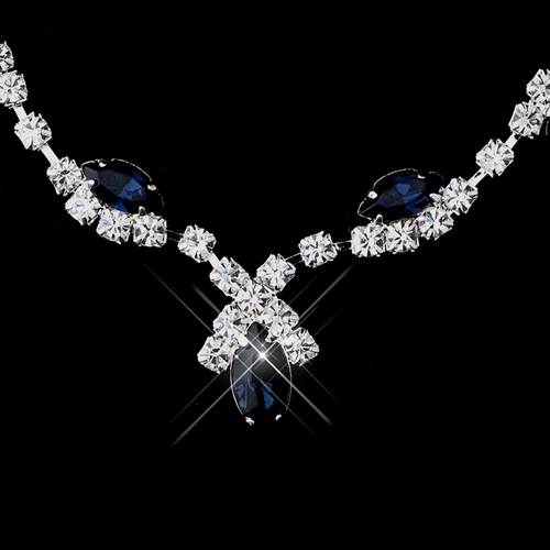 Silver Navy Marquise & Clear Round Necklace 9341