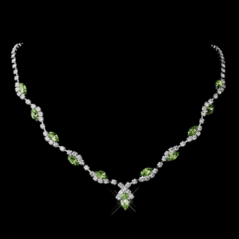 Silver Peridot Marquise & Clear Round Necklace 9341