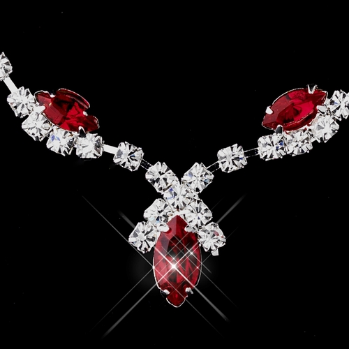Silver Red Marquise & Clear Round Necklace 9341