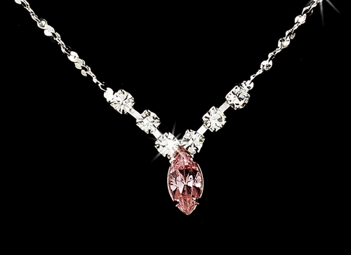 Necklace Earring Set 307 Silver Pink **Discontinued**