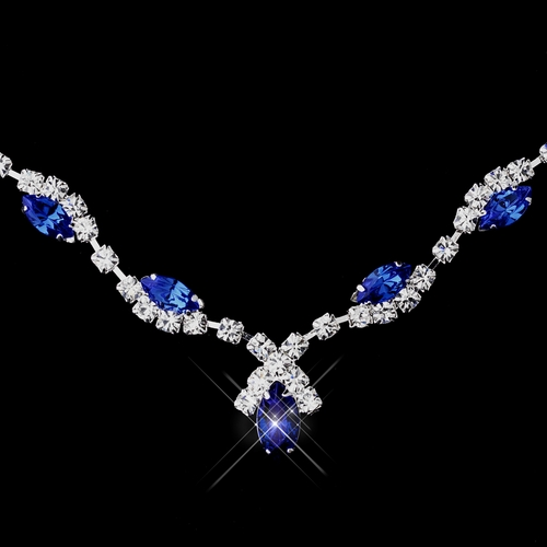 Silver Sapphire Marquise & Clear Round Necklace 9341