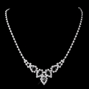 Silver Black Round Rhinestone Necklace 9381