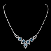 Silver Teal Round Rhinestone Necklace 9381