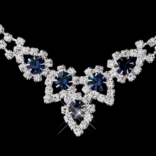 Silver Navy Round Rhinestone Necklace 9381