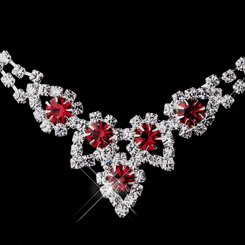 Silver Red Round Rhinestone Necklace 9381