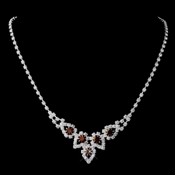 Silver Ruby Round Rhinestone Necklace 9381