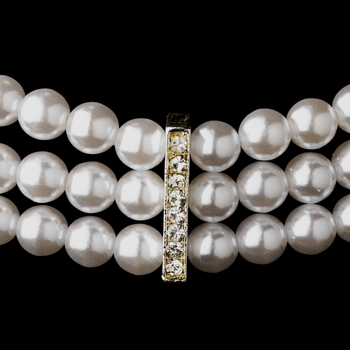 3 Row Silver White Pearl & Clear Rhinestone Rondelle Necklace 9851