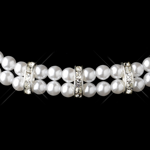 Silver White Pearl & Clear Rhinestone Rondelle Necklace 9861