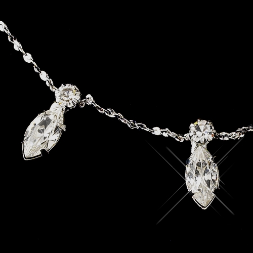 Silver Clear Marquise Necklace & Earrings Jewelry Set 0425