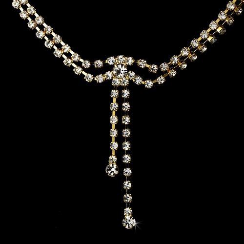 * Necklace Earring Set 316 Gold Clear