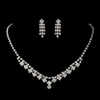 Antique Silver Rhodium Clear Round Rhinestone Necklace & Earrings Jewelry Set 1008