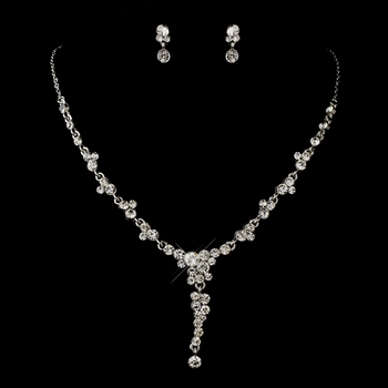 Silver Clear Round Rhinestone Dangle Necklace & Earrings Jewelry Set 2091
