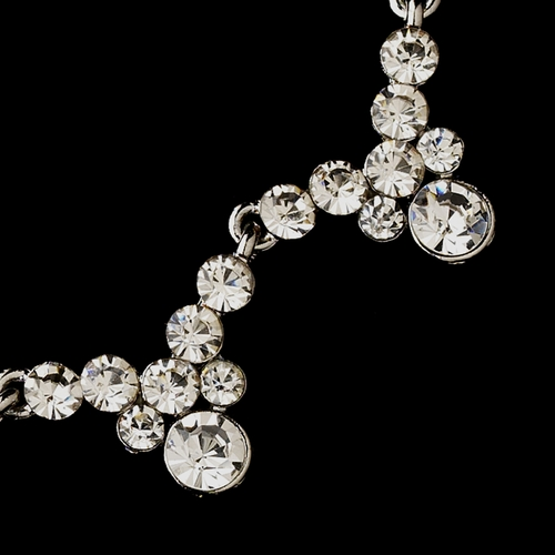 Silver Clear Round Rhinestone Necklace & Earrings Jewelry Set 2136