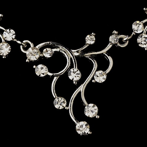 Silver Clear Round Rhinestone Filigree Necklace & Earrings Jewelry Set 2178