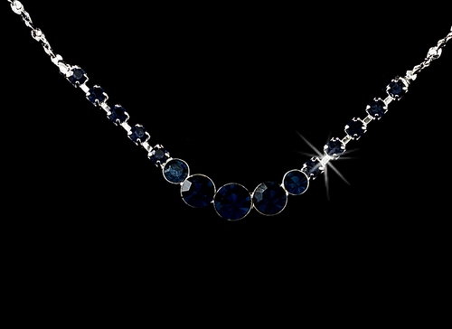 * Necklace Earring Set 305 Silver Navy Blue