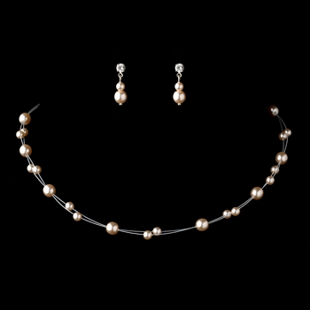 Silver Ivory Glass Pearl Wire Necklace & Earrings Jewelry Set 4300