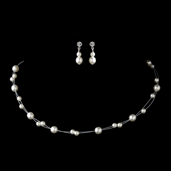Silver White Glass Pearl Wire Necklace & Earrings Jewelry Set 4300