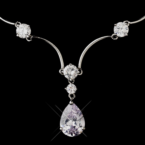Silver Clear CZ Crystal and Rhinestone Necklace & Earrings Jewelry Set 6060