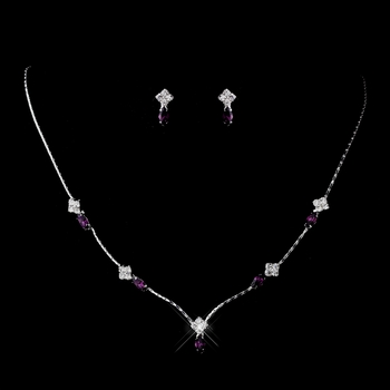 Silver Amethyst and Clear Navette Rhinestone Necklace & Earrings Jewelry Set 7017