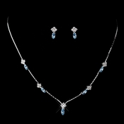 Silver Aqua and Clear Navette Rhinestone Necklace & Earrings Jewelry Set 7017