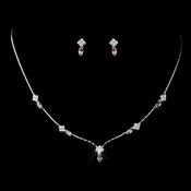 Silver Light Amethyst and Clear Navette Rhinestone Necklace & Earrings Jewelry Set 7017