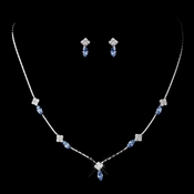 Silver Light Blue and Clear Navette Rhinestone Necklace & Earrings Jewelry Set 7017