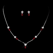 Silver Red and Clear Navette Rhinestone Necklace & Earrings Jewelry Set 7017