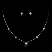 Silver Ruby and Clear Navette Rhinestone Necklace & Earrings Jewelry Set 7017