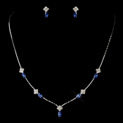 Silver Sapphire and Clear Navette Rhinestone Necklace & Earrings Jewelry Set 7017