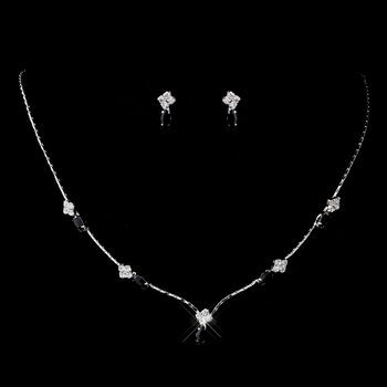 Silver Black and Clear Navette Rhinestone Necklace & Earrings Jewelry Set 7017