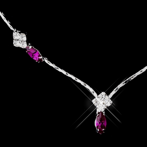 Silver Fuchsia and Clear Navette Rhinestone Necklace & Earrings Jewelry Set 7017