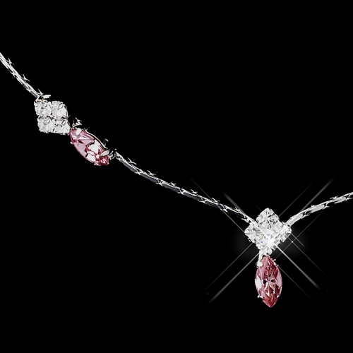 Silver Pink and Clear Navette Rhinestone Necklace & Earrings Jewelry Set 7017
