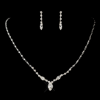 Silver Clear Navette & Round Rhinestone Necklace & Earrings Jewelry Set 7057