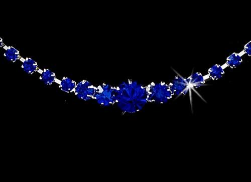* Necklace Earring Set 337 Silver Royal Blue
