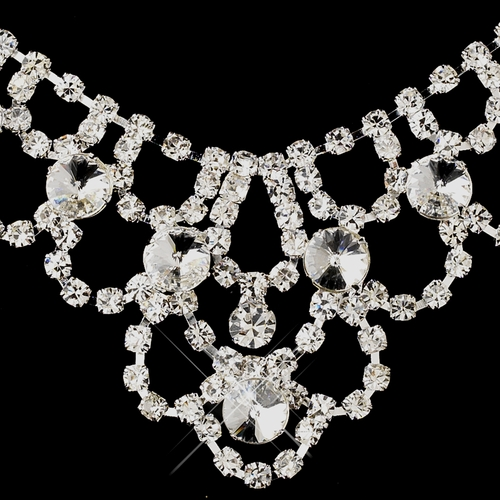 Silver Clear Round Rhinestone Necklace & Earrings Jewelry Set 7087