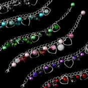 Heart Charm Bracelets 8499 (Assorted Colors) Set of 6