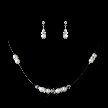 Silver White Pearl & Clear Rhinestone Rondelle Illusion Necklace & Earrings Jewelry Set 7407