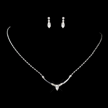 Silver Clear Navette & Round Rhinestone Necklace & Earrings Jewelry Set 7450
