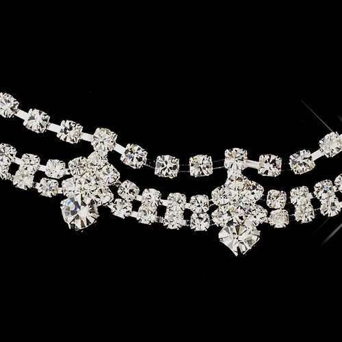 Silver Clear Round Rhinestone Necklace & Earrings Jewelry Set 7939***Discontinued***