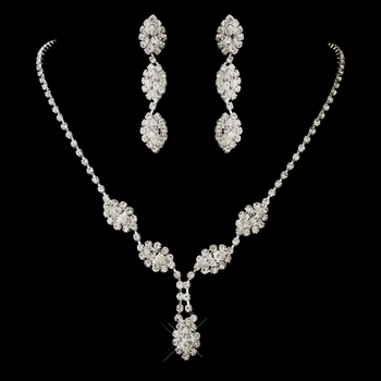 Silver Clear Marquise Rhinestone Necklace & Earrings Jewelry Set 8400