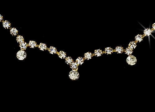 * Necklace Earring Set 325 Gold Clear