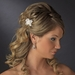 * Pearl Accented Floral Light Ivory Fabric Hair Pin 119